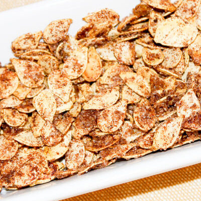 Pumpkin seeds covered in cinnamon and sugar