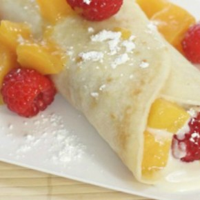 Mango Raspberry Crepes with Honey Goat Cheese