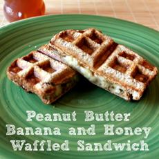 Peanut Butter Banana Honey Waffle Sandwich