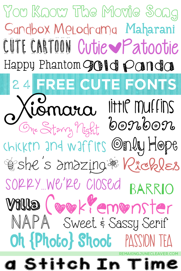 free cute fonts remaking june