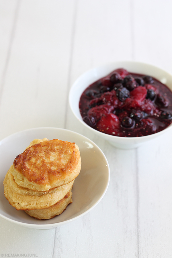 maple corn cakes with chia mixed fruit compote RemakingJune