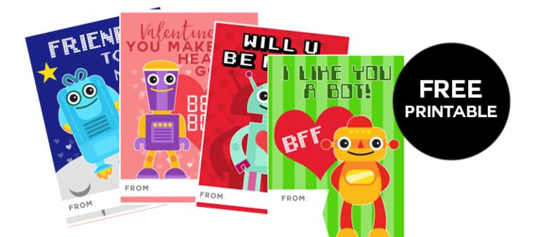 free printable robot valentine cards for kids