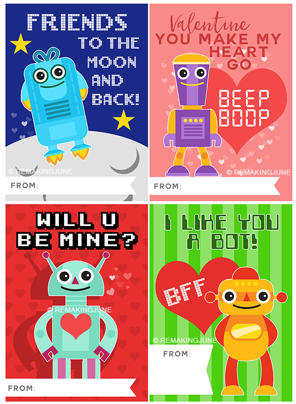 graphic about Valentines Cards Printable called PRINTABLE Robotic VALENTINES for your tiny sci-fi admirer
