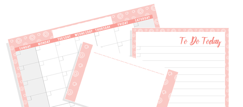 colorful blank calendar set