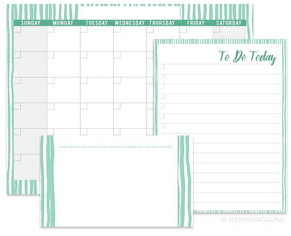 colorful blank printable calendar set free