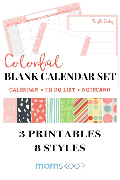 free printable colorful blank calendar set 2018