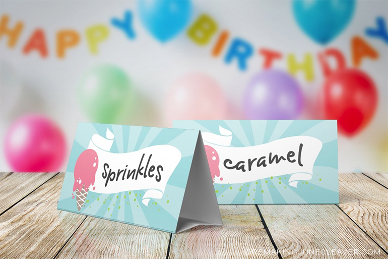 Ice Cream party printable pack free table cards