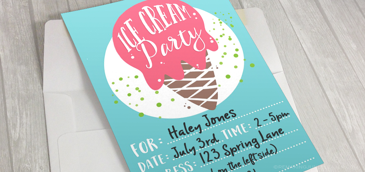 Ice Cream party printable pack free
