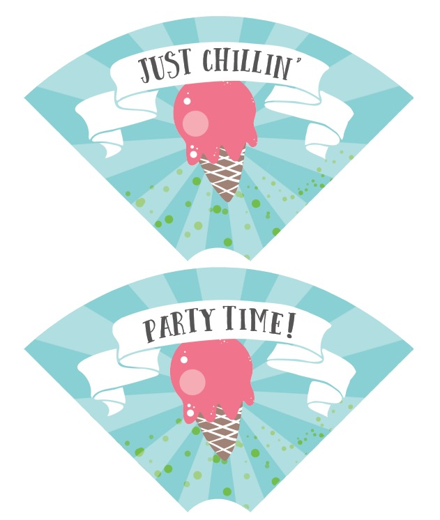 ice cream party cone wraps free printable