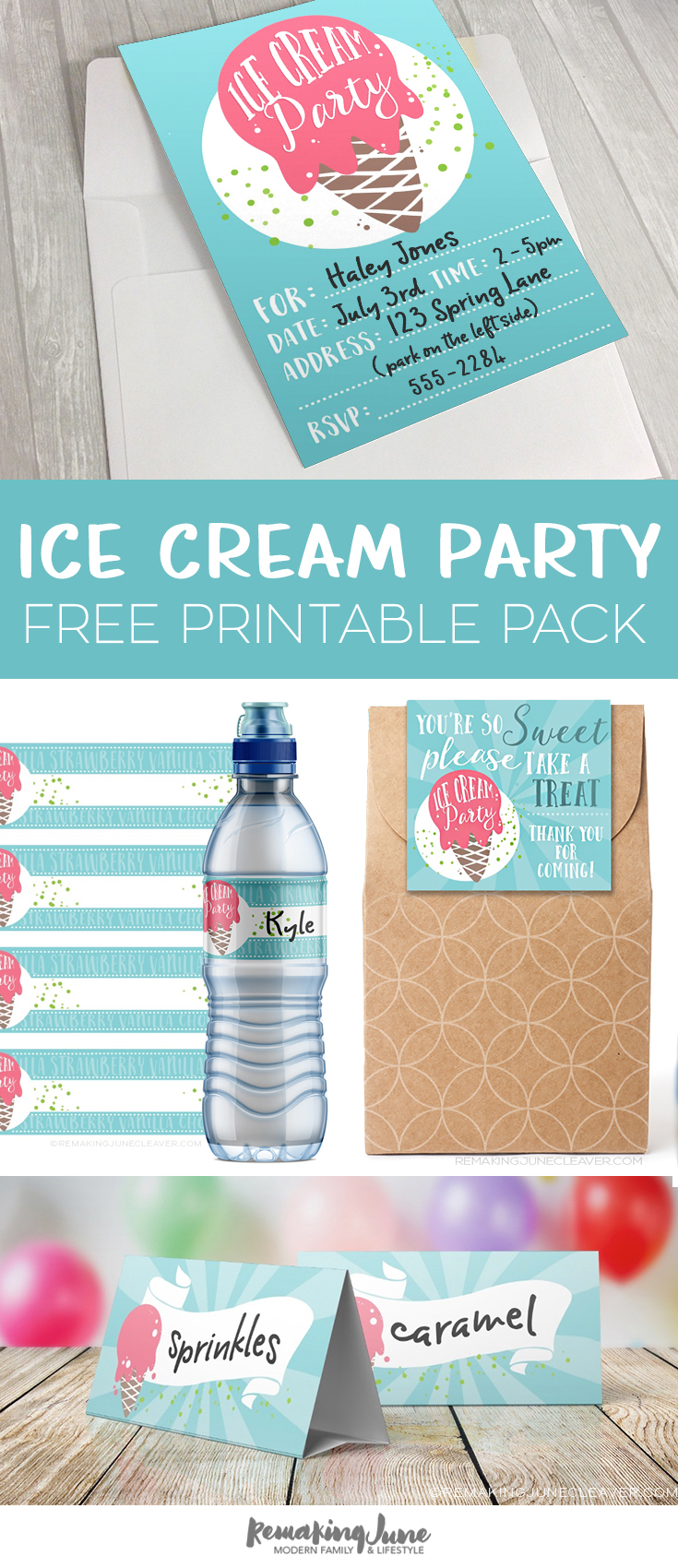 free printable ice cream party pack from RemakingJune