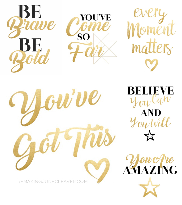 FREE MOTIVATIONAL PRINTABLES BLACK AND GOLD