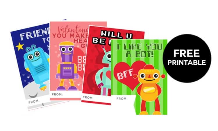 photo about Printable Robot named PRINTABLE Robotic VALENTINES for your small sci-fi lover