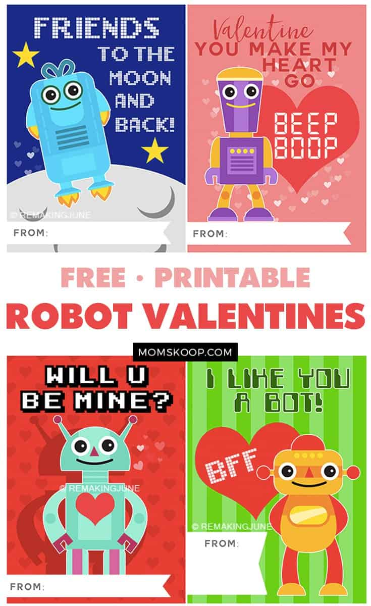 picture relating to Printable Robot titled PRINTABLE Robotic VALENTINES for your minor sci-fi supporter