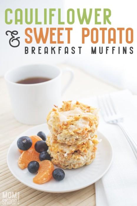 cauliflower and sweet potato cheesy breakfast muffins recipe