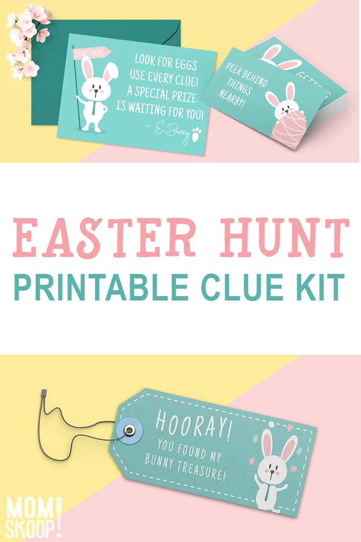 photo relating to Printable Easter Egg Hunt Clues identified as Cute Easter Egg Hunt Printable Clues Package - MomSkoop