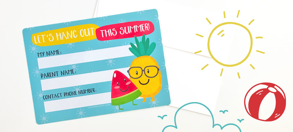 Summer Contact Cards - Free Printable To Help Kids Keep in ...