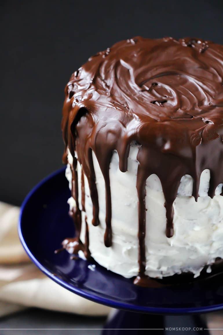 rustic chocolate drip cake closeup