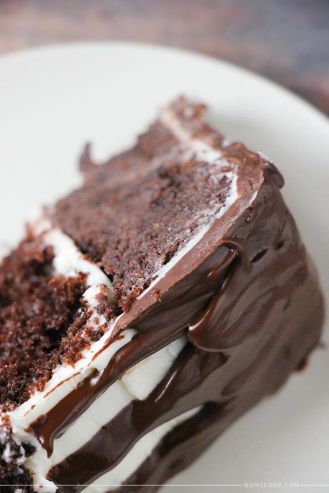 rustic chocolate drip cake slice