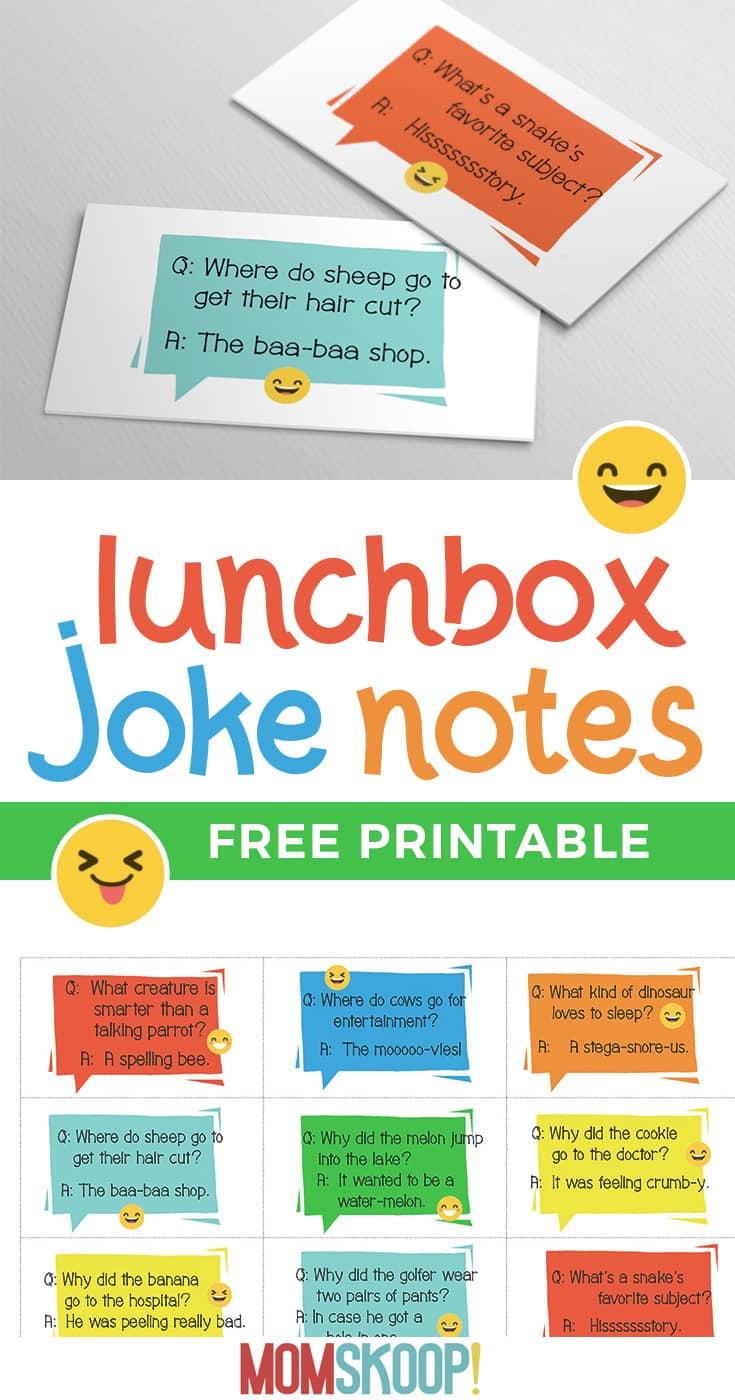 BACK TO SCHOOL : Printable Lunchbox Joke Notes MomSkoop