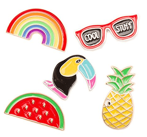 luau enamel pin set pineapple rainbow