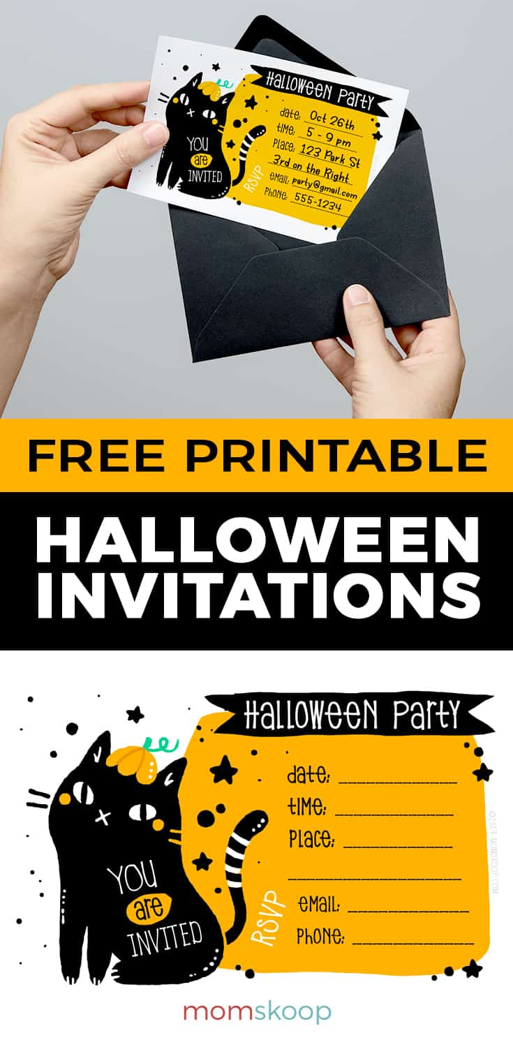 photo relating to Halloween Invites Printable named No cost Printable Halloween Invites: Black Cat - MomSkoop