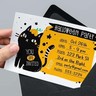 Free Printable Halloween Invitations: Black Cat