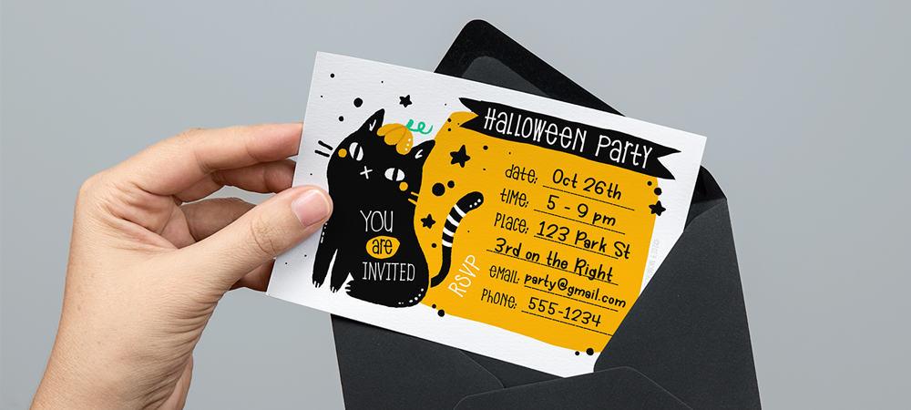 BlackCat Printable Halloween Invitations Feature