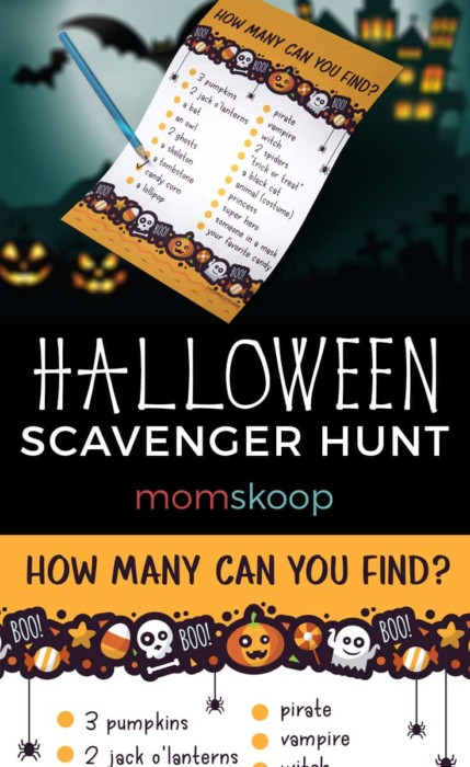 Printable Halloween Scavenger Hunt from momskoop