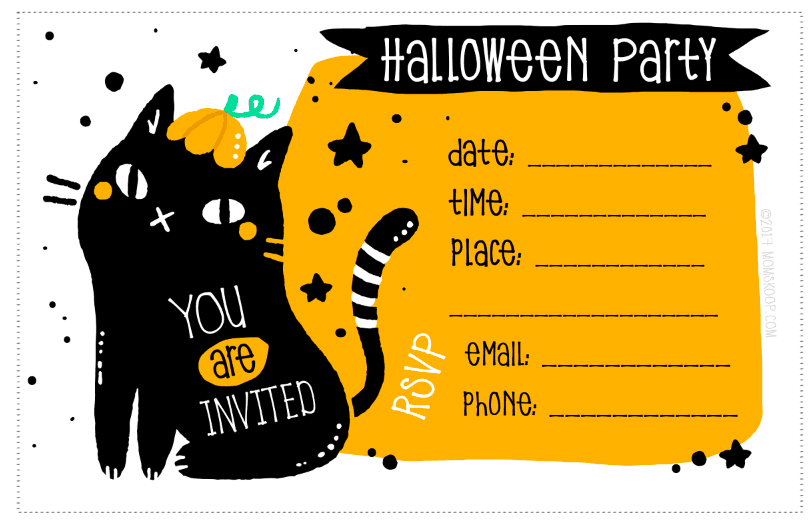 BlackCat Printable Halloween Invitations download