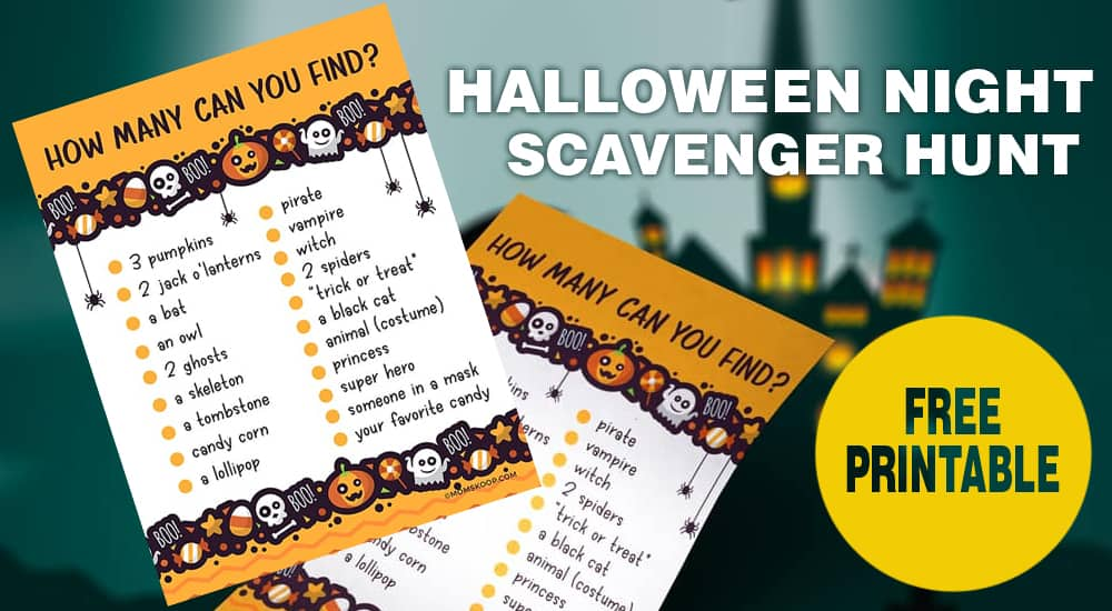 halloween night scavenger hunt printable free