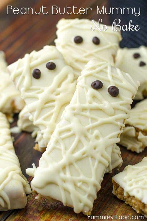 no bake peanut butter mummies