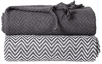 Cotton Chevron Throw Set