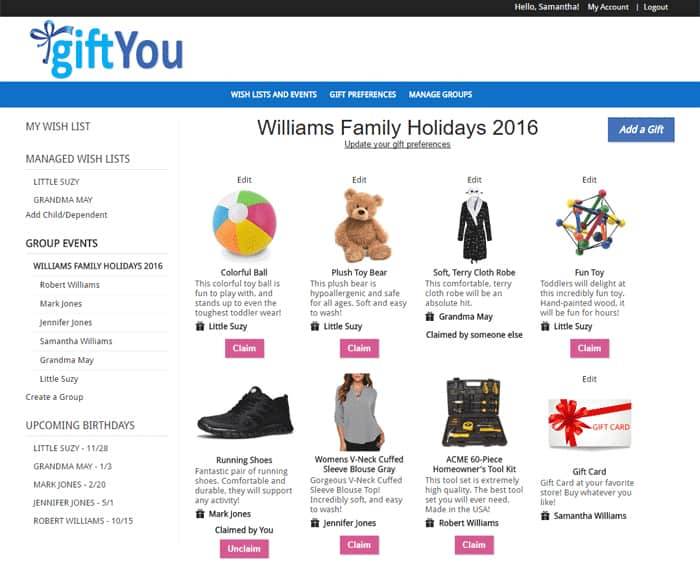 giftyou holiday gift registry free