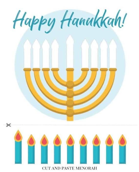 Free Printable Hanukkah Activity Pack for Kids cut and paste menorah