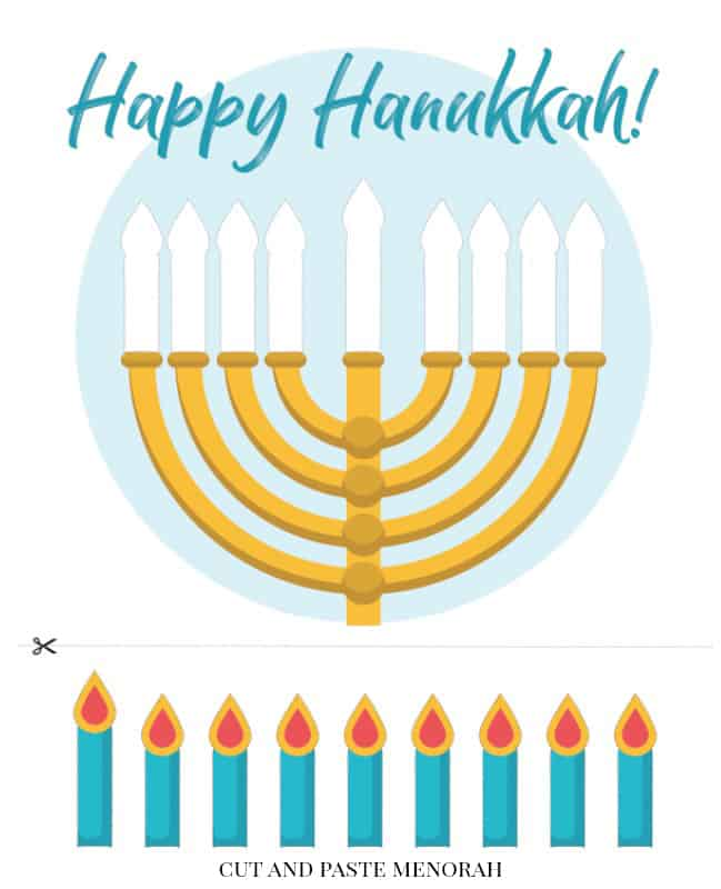 Free Printable Hanukkah Activity Pack for Kids cut and paste menorah