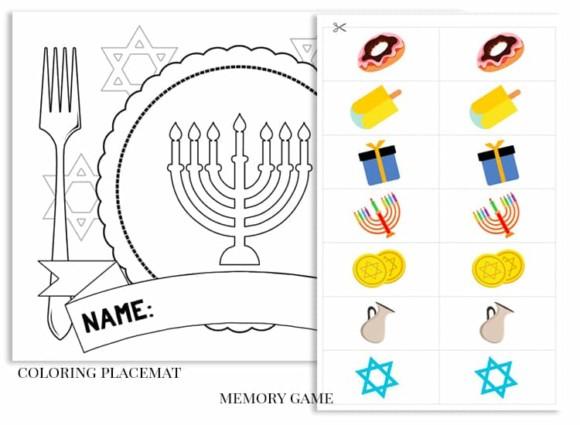 Free Printable Hanukkah Activity Pack for Kids placemat memory game