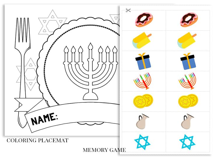 Free Printable Hanukkah Activity Pack for Kids placemat memory game