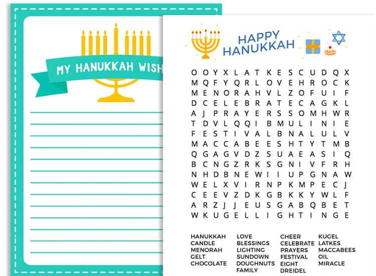 Free Printable Hanukkah Activity Pack for Kids wishlist word search