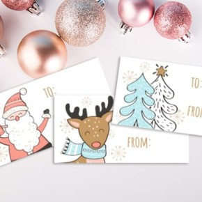Printable Christmas Gift Tags : Santa and Friends Pastel Set