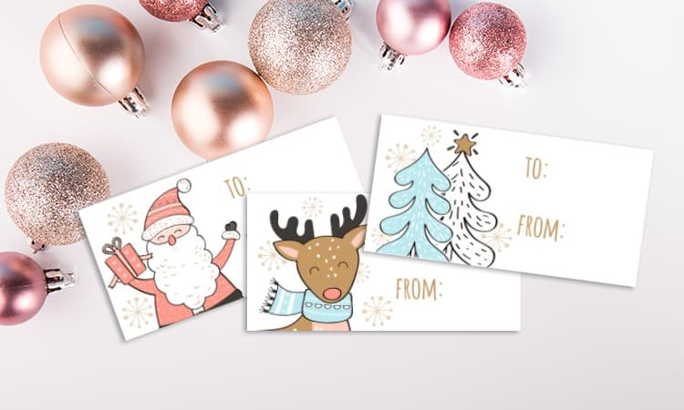 printable christmas gift tags santa and friends set