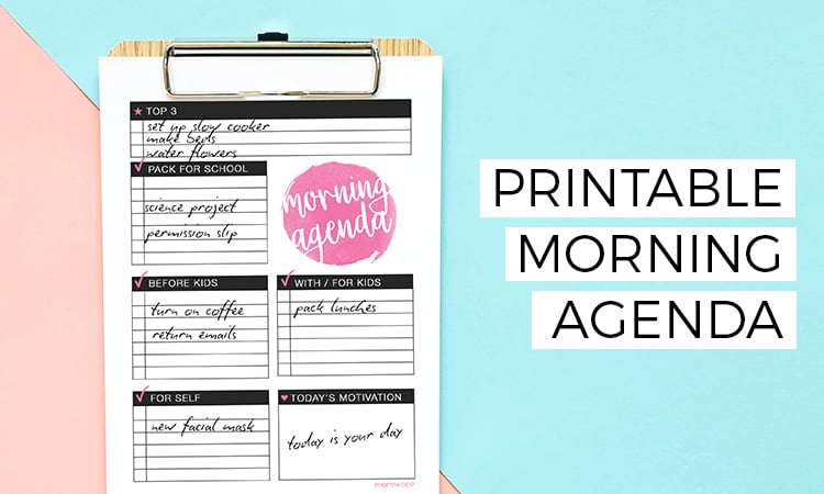 printable morning agenda