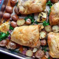 One Pan Herb-Roasted Chicken with Potatoes and Kale