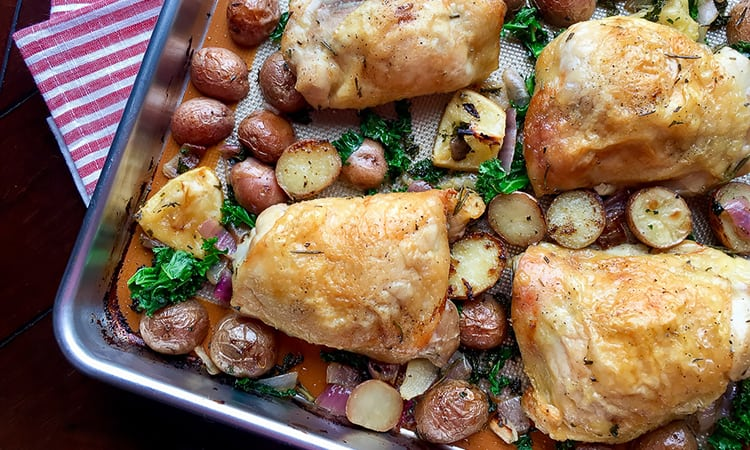 one pan roasted chicken potatoes kale