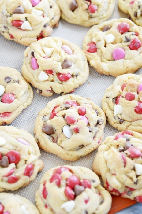 valentine's day cookies Soft Batch M&M Chocolate Chip Pudding Cookies