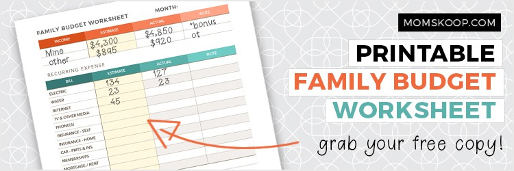 how to start a family budget printable worksheet
