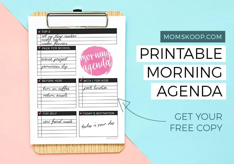 printable morning agenda