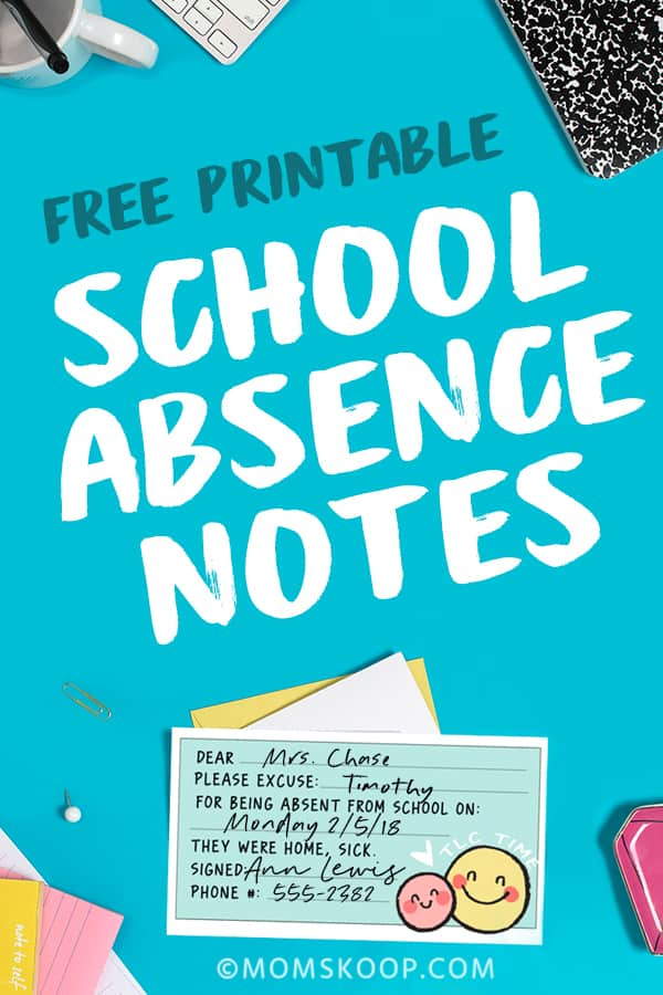Free Printable School Absence Notes from Mom Skoop