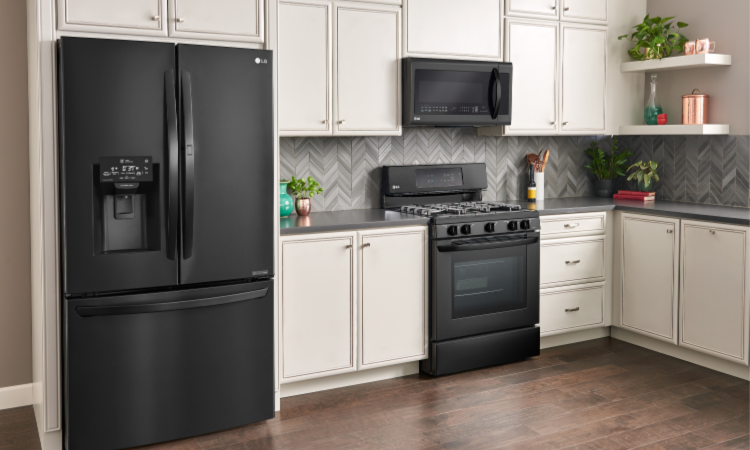 Stylish LG Matte Black Kitchen