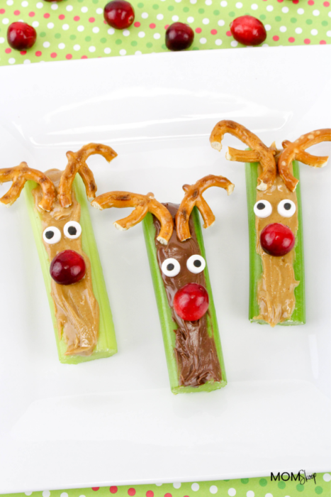 Celery and Peanut Butter Sticks Rudolph Snacks