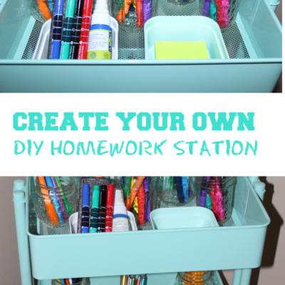 BACK TO SCHOOL IDEAS: DIY HOMEWORK STATION